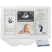 "Gimars CPSC Glass 2 Sheet 4x6"" Sonogram Handprint & Footprint Photo Frame Kit with Ink Pad for Boys and Girls, Newborn Baby Shower Gifts for Registry, Memorable Keepsakes for Room Wall or Table Decor"