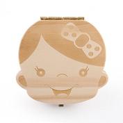 Baby Tooth Box Wooden Baby Keepsake Tooth Collection Deciduous Souvenir Box