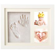 Newborn Baby Hand and Footprint Picture Frame Kit for Boys and Girls Creative Baby Shower Gifts Memorable Keepsakes Wall or Table Decorations Safe Clay and Wood Frame