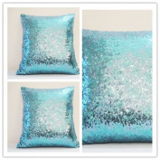 ShinyBeauty Sequin Pillow-16x16-InchTurquoise, Turquoise Sequins Decorative Pillow Cover,Throw Pillowcase,Pillow Protector,Holiday Pillow Case