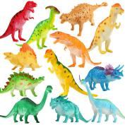Dinosaur Figure, 18cm Jumbo Dinosaur Toy Playset(12 pack), Assorted Realistic Dinosaur,Yeonha Toys Vinyl Plastic Dino Dinosaur Set Party Favours Toys