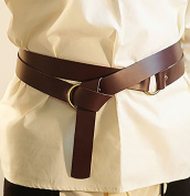 Mediaeval-LARP-Reenactment-Viking-Battle Ready BROWN LEATHER WRAP AROUND KNIGHTS BELT 3.8cm Wide