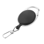MagiDeal Heavy Duty Retractable Carabiner Badge Tinker Reels 60cm Pull Wire with Key Ring Clip Black