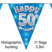 Happy 50th Birthday Blue Holographic Foil Party Bunting 3.9m Long 11 Flags