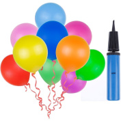Lictin 100pcs Randomly Assorted Colours Party Balloons with a Blue Balloon Pump/ Compressor/Air Inflator for Party, Birthday, Wedding, Holiday, Anniversary and Other Celebrations