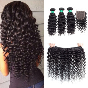 "MQYQ Hair Brazilian Deep Wave 3 Bundles with Closure Unprocessed Virgin Hair with 4""4"" Lace Closure Free Part Natural Colour 10 12 12+10inch"