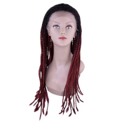 Miss Rola Synthetic Fibre Box Braid Lace Front Wig For Black Women Long Curly Braided With Natural Hair Line And Baby Hair 150g-250g 1b# 70cm