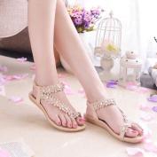 . Women Sandals,Canserin Women's Summer Fashion Bohemia Flower Beads Flip-flop Shoes Flat Sandals (8 B