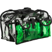 Casemetic Clear Set Bag Double Zippered Storage Compartment with 3 External Pockets and Shoulder Strap, Green
