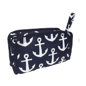 Top Anchors Black & White Nautical Theme Hanging Toiletry Travel Bag Case Shaving Dopp Kit Zipper Strap Hanger TravelNut Men Boy Him Unique Last Minute Great Father Day Nurse Graduation Gift Idea
