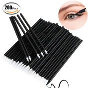Bysiter Disposable Eyeliner Brush Eye shadow Applicator Fine Point Eye Liner Pens Lip Liner brushs Cosmetic Wands Makeup Tool set,200pcs