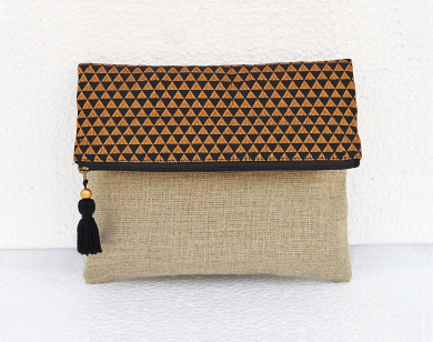 Boho linen pouch, brocade bag, black and gold, triangle pattern, moroccan, foldover clutch, 25cm X 20cm