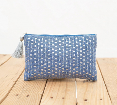 Indigo pouch, stone washed clutch, bridesmaid purse, silver sequin bag , bohemian, size 13cm x 23cm