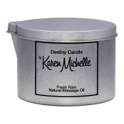 Scented Massage Oil Candle - Fresh Rain Aromatherapy | Destiny Candle by Karen Michelle | Beautiful Piece of Jewellery Inside | Rekindle the Romance (Tin, 240ml