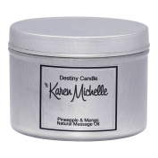 Scented Massage Oil Candle - Pineapple Mango Aromatherapy | Destiny Candle by Karen Michelle | Beautiful Piece of Jewellery Inside | Perfect Way to Rekindle the Romance (Tin, 120ml