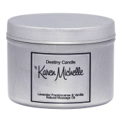 Scented Massage Oil Candle Lavender Frankincense Vanilla Aromatherapy | Destiny Candle by Karen Michelle | Beautiful Piece of Jewellery Inside | Rekindle the Romance (Tin, 120ml