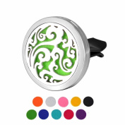 DIB Car Air Freshener Aromatherapy Essential Oil Diffuser Cloud Stainless Steel 38MM Locket,10 Refill Pads
