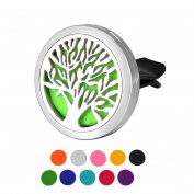 DIB Car Air Freshener Aromatherapy Essential Oil Diffuser Tree of Life Stainless Steel 38MM Locket,10 Refill Pads