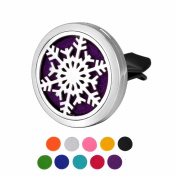 DIB Car Air Freshener Aromatherapy Essential Oil Diffuser Snowflake Stainless Steel 38MM Locket,10 Refill Pads