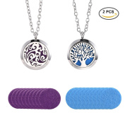 Pretty See 2 Pcs/Set Vintage Aromatherapy Essential Oil Diffuser Necklace Stainless Steel Locket Pendant with Adjustable 60cm Chain and 20 Refill Pads
