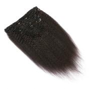 FDshine Kinkys Straight Clip in Hair Extensions Italian Yaki Human Hair Clip on Hair 7Pcs 22Clips 120ml Clip-ins Double Drawn Thick End