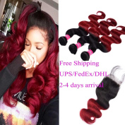 """Wome Hair Peruvian 100% Natural Virgin Ombre Hair Extensions Black TO Red (Ombre 1b/Burgundy) Body Wave Hair 3 Bundles 300g Length 10""""12""""14"""" With 44 Lace Closure Length 12"""""""