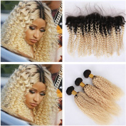 Tony Beauty Hair Dark Roots Blonde Ombre Peruvian Kinky Curly Virgin Hair Bundles With Frontal 1B/613 Two Tone Ombre Ear to Ear 13x4 Lace Frontal Closure With Weaves