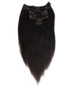 abHair Clip in 100% Human Hair Extensions Silky Soft Yaki Straight 60-65g Full Head 7 Piece 36cm 41cm