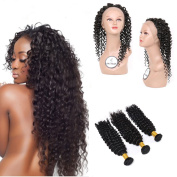 FASHIJIA 360 Lace Frontal With Bundles Raw Indian Virgin Hair With Closure Deep Wave Curly 3Pcs 360 Lace Frontal Closure With Bundles