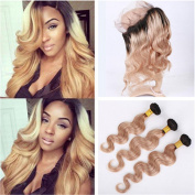 Tony Beauty Hair Two Tone 1B/27 Honey Blonde Ombre 360 Full Lace Frontal Closure With Bundles Light Brown Ombre Virgin Brazilian Hair With 360 Band Closure Pre Plucked