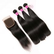 CLAROLAIR Brazilian Straight Hair with Closure Brazilian Straight Virgin Hair Bundle closure Remy Human Hair Extensions Mixed Length 8-70cm