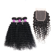 Soft Feel Hair Brazilian Deep Wave Bundles With Lace Closure With Bleached Knots 4×4 Closure Human Hair With Bundles