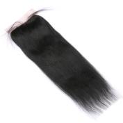 FDshine Silk Closures Human Hair Coarse Light Yaki Straight Natural Virgin Hair Silk Base Top Closure 10cm x 10cm Free Part Medium Brown Colour Lace