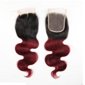 Soft Feel Hair Brazilian Ombre Body Wave Human Virgin 4×4 1b 99j Burgundy Body Wave Closure Bleached Knots Ombre Closure Human Hair
