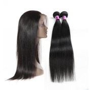 Soft Feel Hair Virgin Brazilian Straight Human Hair Bundles With 360 Lace Frontal Closure With Baby Hair Mixed Length