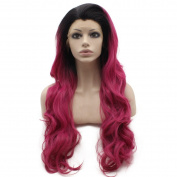 Iewig Long Wavy Black Rose Red Ombre Swiss Lace Front Wig Synthetic Heat Resistant