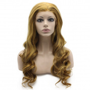 Iewig Long Wavy Blonde Mix Brown Swiss Lace Front Wig Synthetic Heat Resistant