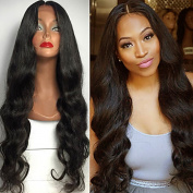 BeautyGal Long Body Wave Lace Front Wigs Middle Part Curly Synthetic Hair Lace Wig 80cm