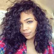 Short Loose Curly Wave Lace Front Human Hair Wigs Glueless Brazilian Virgin Full Lace Wigs with Baby Hair For Black Women 130% Density Natural Colour