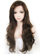 Ebingoo Drag Queens Natural Brown Heat Resistant Wavy Synthetic Lace Front Wig with Free Wig Cap