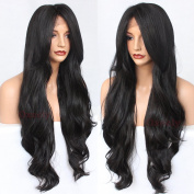 Oxeely long body wave hair wig black colour natural synthetic lace front wig for black women 70cm