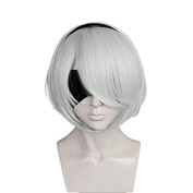Anogol Hair Cap+Bob Cosplay Wig Silver White Short Straight Synthetic Hair Costume Fancy Dress Halleween Wigs