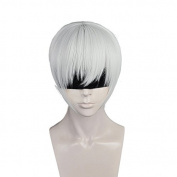 Anogol Hair Cap+Boy's Cosplay Wig Silver White Short Straight Hair Halleween Wigs Costume Fancy Dress