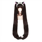 Anogol Hair Cap+Gril's Cosplay Wig Brown Long Straight Hair Halleween Wigs Costume