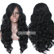 Jolitime Hair Big Wave Lace Front Wigs Synthetic Black Colour Long Wavy Synthetic Wigs For Black Women With Bangs 60cm