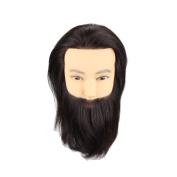 HAIR WAY Male Mannequin Head 100% Human Hair Hairdresser Training Head with Beard Manikin Cosmetology Doll Head for Hair Styling & Practise 25cm #1b Colour