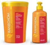 Kanechom Shea Butter Hair Treatment Cream 35.2oz + Leave In 10oz | Manteiga de Karite Creme de Tratamento 1kg + Creme para Pentear 300ml