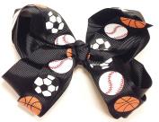 13cm Soccer, Baseball & Basketball Sports Hair Clip Barrette Bow for Girls - Black