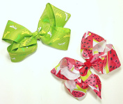 Green Dragonfly & Watermelon Set of Two 13cm Hair Clip Barrette Bows for Girls