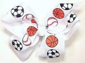 13cm Soccer, Baseball & Basketball Sports Hair Clip Barrette Bow for Girls - White